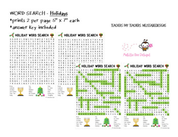 Holiday Word Search (prints 2 per page) Ans Key Included
