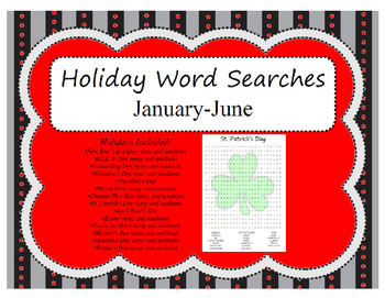 Holiday Word Searches: January-June; Easter, St. Patrick's