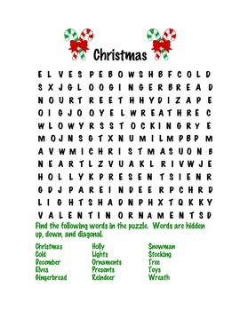 Holiday Word Searches and Scrambles