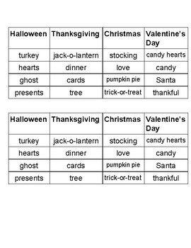 Holiday Word Sort
