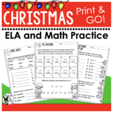 Holiday ELA and Math Print and Go