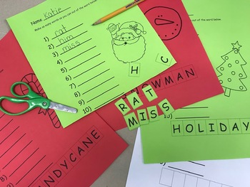Holiday Word Work (5 pages + FREE Blank copy)
