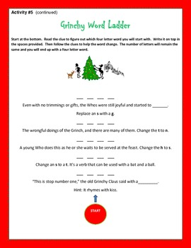 Holiday Word Work Activities for Literacy Center