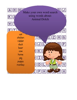 Dolch Animals Word Work - cut out word search to practice dolch animals