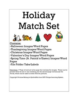 Holiday Word to Match Set