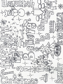 Holiday Wordle Coloring Page