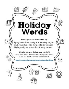 Holiday Words
