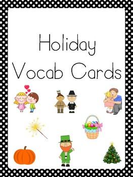 Holiday Words Vocab List