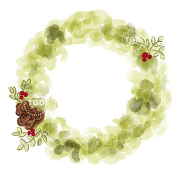 Holiday Wreath clip art, Printable Tracey Gurley Designs