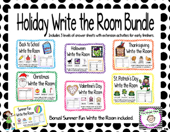 Holiday Write the Room Bundle- Includes 3 levels of answer sheets