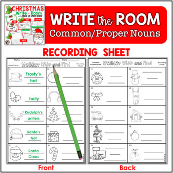 Holiday Write the Room {With Extension Activities} Common/Proper Nouns/Verbs