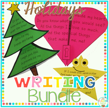 Holiday Writing Activities Bundle: Patrick's, Easter, Christmas, Valentine's.