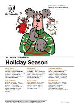 Holiday Writing Activity: 100 vocabulary words about the Holiday Season