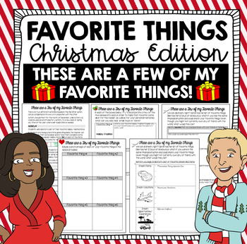 Holiday Writing Activity - My Favorite Things (Christmas Edition)