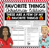 Christmas Writing Activity - My Favorite Things (Holiday Edition)