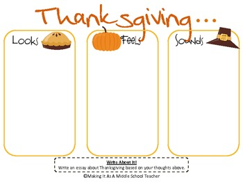 Holiday Writing Activity ~ Thanksgiving...Looks, Feels, & Sounds....