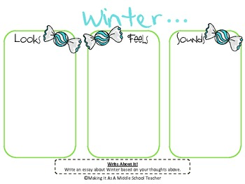 Holiday Writing Activity ~ Winter...Looks, Feels, & Sounds....