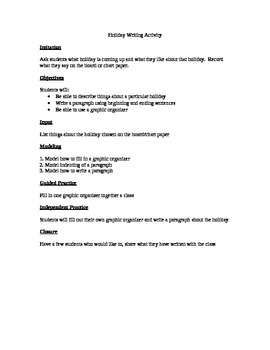 Holiday Writing Activity using a Graphic Organizer