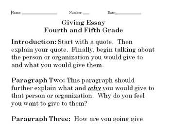 Holiday Writing Assignment - The Gift of Giving