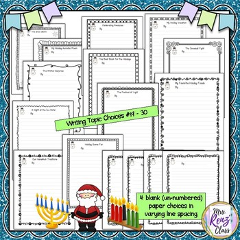Holiday Writing Choice Board & Writing Paper Set for Hanukkah and Kwanzaa Also