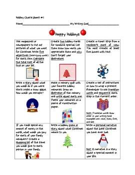 Holiday Writing Choice Boards