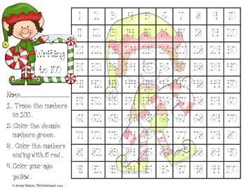 Holiday Writing Numbers to 100 Freebie