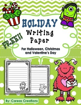 Holiday Writing Paper - Halloween, Christmas, Valentine's