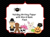 Holiday Writing Paper with Word Bank