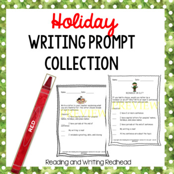 Holiday Writing Prompt Collection-Christmas & Thanksgiving-- NO PREP