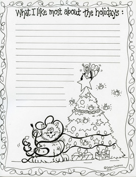 Holiday Writing Prompt & Coloring Sheet