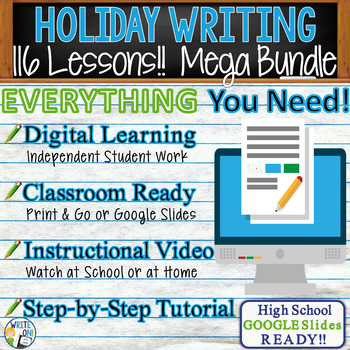 HOLIDAY WRITING PROMPTS MEGA BUNDLE!!  29 Lessons!!! - High School