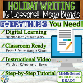 HOLIDAY WRITING PROMPTS MEGA BUNDLE!!  29 Lessons!!! - Middle School