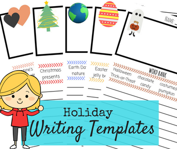 Holiday Writing Templates - Christmas, Valentine's, Halloween, Easter, Earth Day