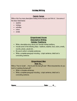 Holiday Writing Tiered Activity