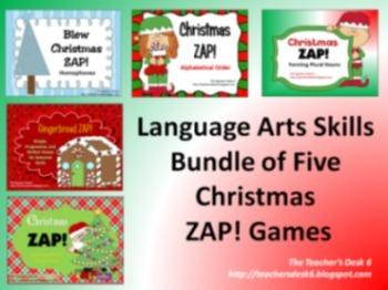 Holiday ZAP Bundle of FIVE Language Arts Skills Practice Games