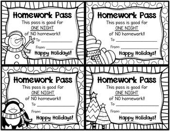 Holiday and Christmas No Homework Pass - Editable by ...