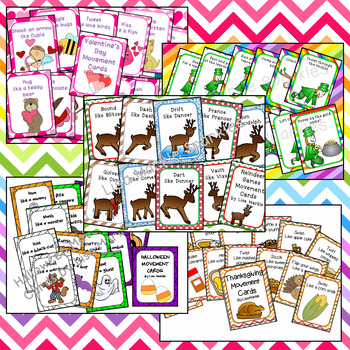 Holiday and Community Helpers Movement Cards for Preschool Brain Break