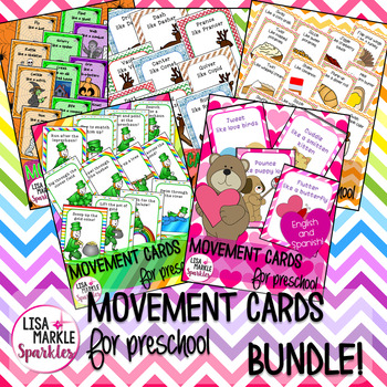 Holiday and Community Helpers Movement Cards for Preschool BUNDLE