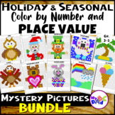Holidays and Seasonal Color by Number and Place Value Myst