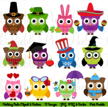 Holiday and Seasonal Owl Clipart Clip Art