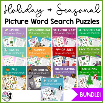 Holiday and Seasonal Picture Word Search Growing Bundle