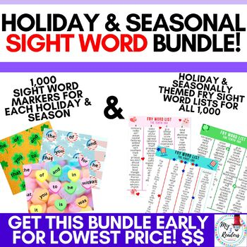 Holiday and Seasonal Sight Word Markers & Sight Word Lists BUNDLE