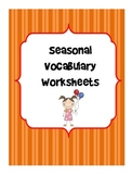 Holiday and Seasonal Vocabulary Worksheets