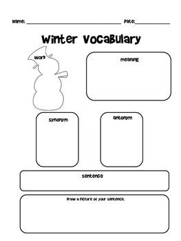 Holiday and Seasonal Vocabulary Worksheets