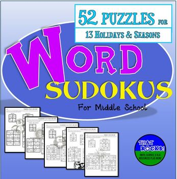 Holiday and Seasonal Word Sudokus Puzzles for Middle School