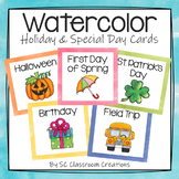 Holiday and Special Day Calendar Cards- Watercolor
