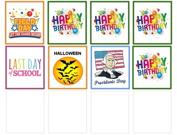 Holiday and Special Day - Calendar Inserts