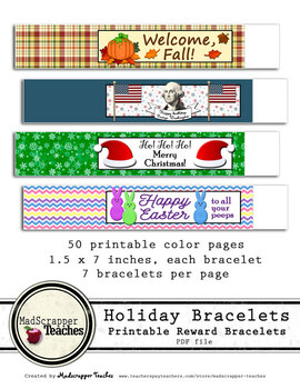 Holiday and Special Occasion Reward Bracelets Printable Bracelets