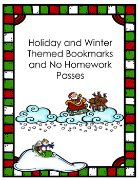 Holiday and Winter Bookmark and Homework Pass