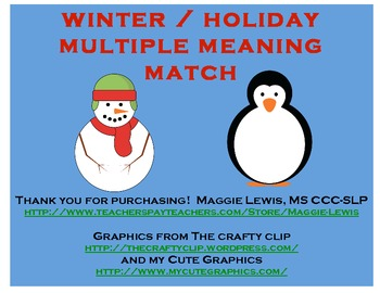 Holiday and Winter Multiple Meaning Match